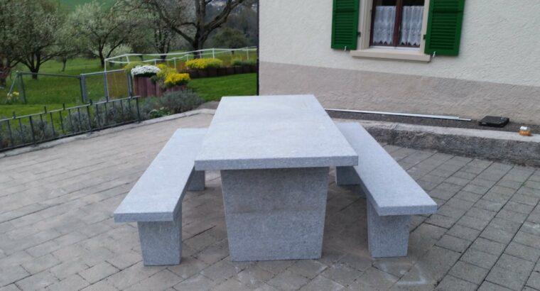 Granittisch ECO 200 x 90 x 6 cm freistehend /ti