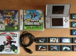 Nintendo DS Lite + 11 GameBoy Advance Spiele + 3 DS Game