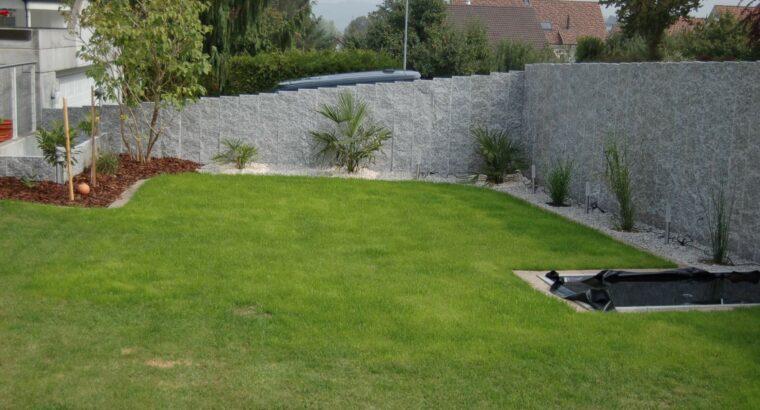 Granit Stelen für Sichtschutzwand im Garten /st