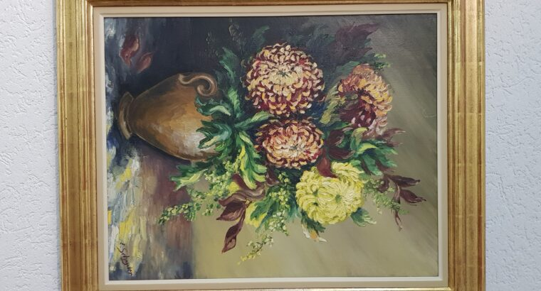 Oel-Bild im Holzrahmen Blattvergoldet